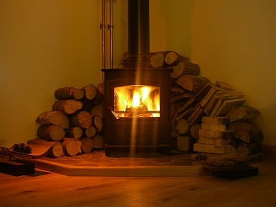 Wood burning stove in Rathad an Drobhair Holiday Cottage Rental Accommodation in Strathconon